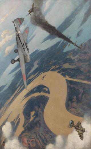 《空中戦闘》油彩