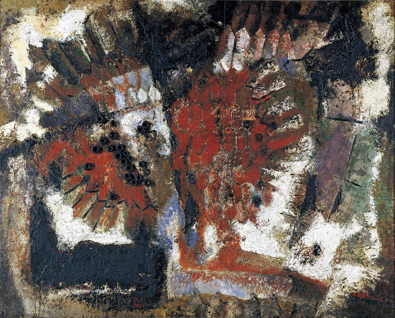 田部光子<br /> 《魚族の怒り》1959年<br /> 福岡市美術館蔵