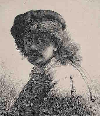 レンブラント・ファン・レイン<br /> 《帽子と襟巻きを着けた暗い顔のレンブラント》<br /> 1633年