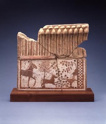エトルリア《建築装飾フリーズ部分、泉水に向かう二頭の馬》紀元前550-540年