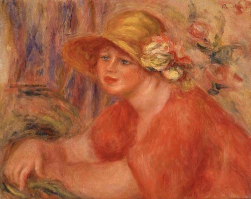 ピエール=オーギュスト・ルノワール<br /> 《花のついた帽子の女》1917年