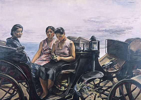 中村研一<br /> 《車を停む》1932年<br /> 北九州市立美術館蔵