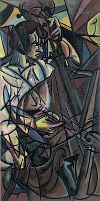 《コントラバスを弾く》1915年<br /> 東郷青児記念 損保ジャパン日本興亜美術館