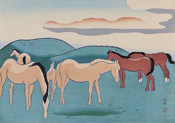坂本繁二郎《阿蘇五景 放牧》1950年