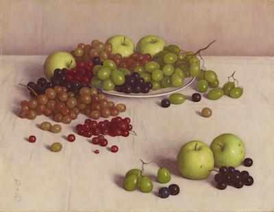 髙島野十郎《ぶどうとりんご》1954年
