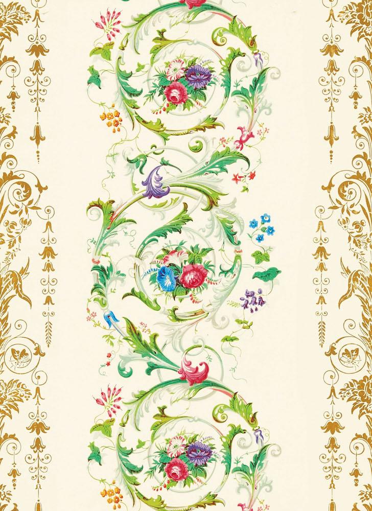 《花とロココ調スクロール》1850年頃