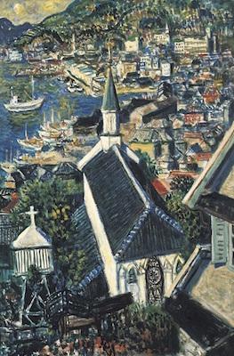 椿貞雄《大浦天主堂》<br /> 1957年 米沢市上杉博物館