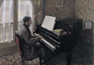 ギュスターヴ・カイユボット<br /> 《ピアノを弾く若い男》1876年