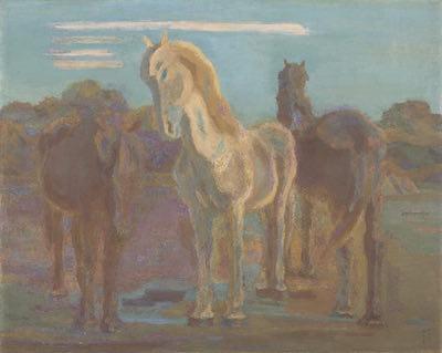 坂本繁二郎《放牧三馬》1932年