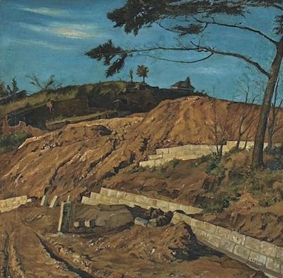 椿貞雄《赤土の山》》<br /> 1915年 米沢市上杉博物館