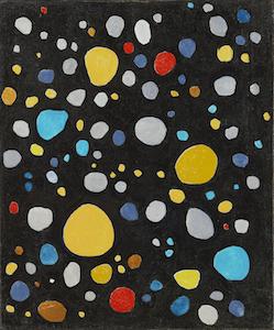 瑛九《黒の中の点》1958年