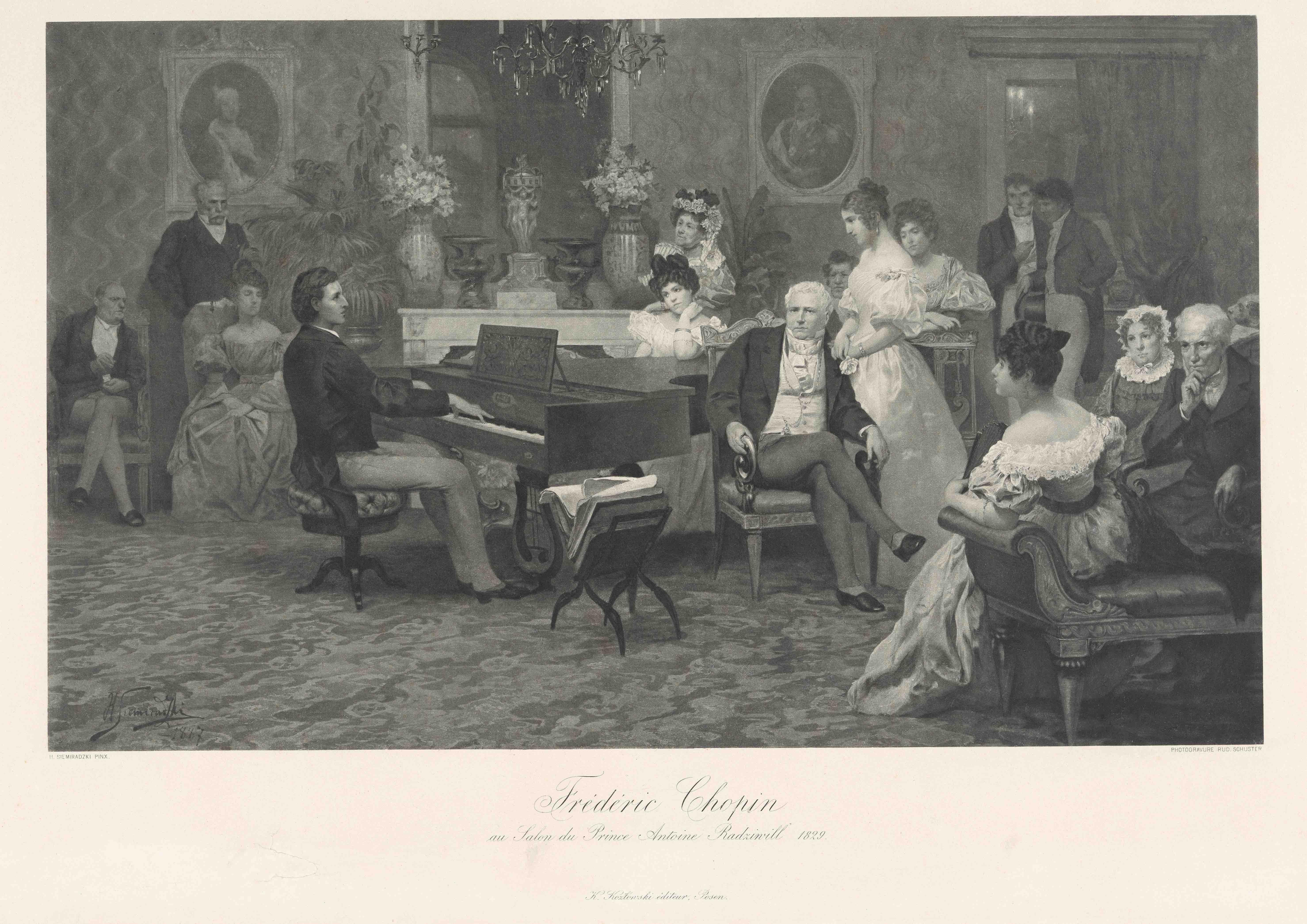 《ラジヴィウ公のサロンのショパン》1888年 NIFC