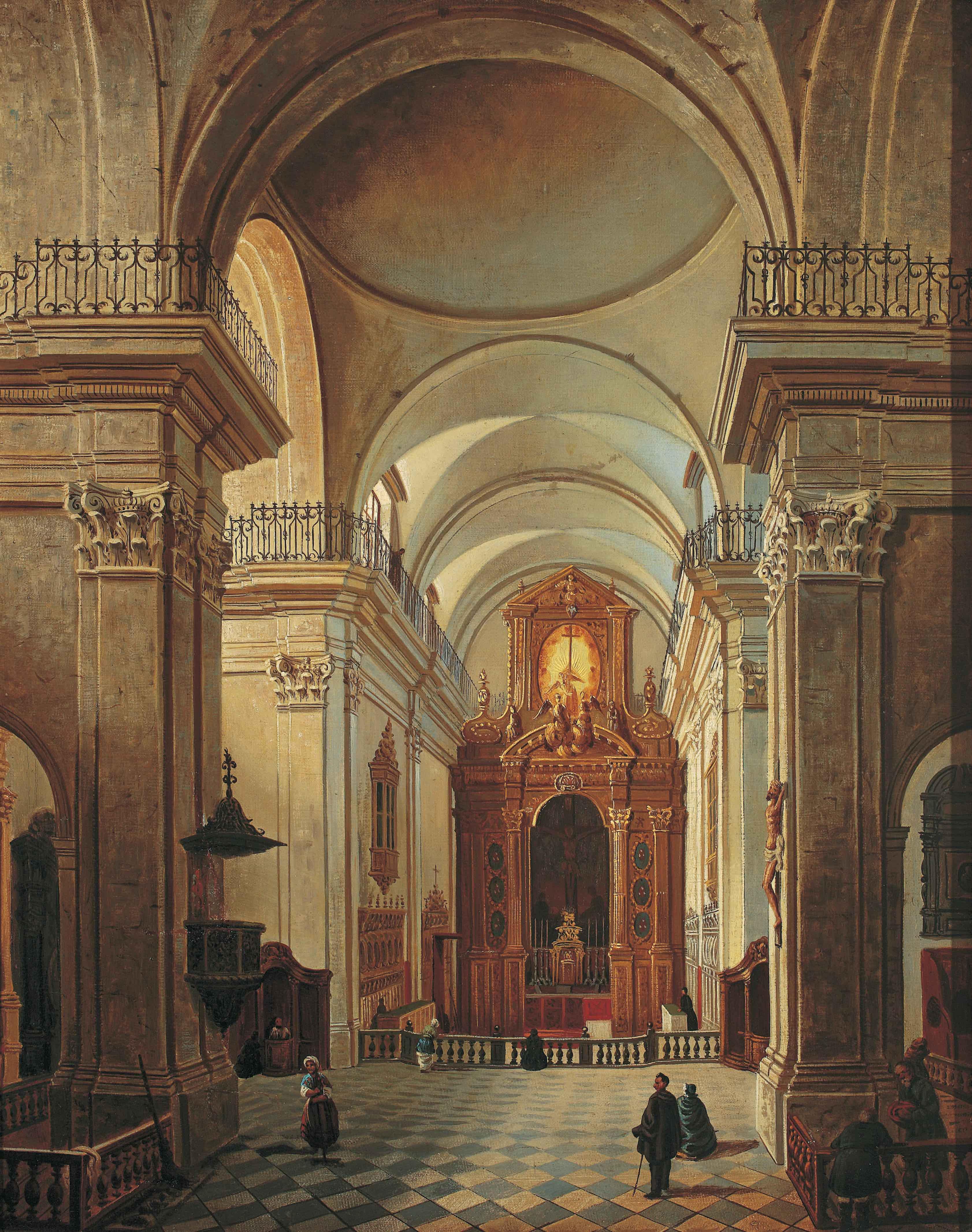 ザレスキ《ワルシャワ、聖十字架教会の祭壇》19世紀中ごろ ワルシャワ国立博物館