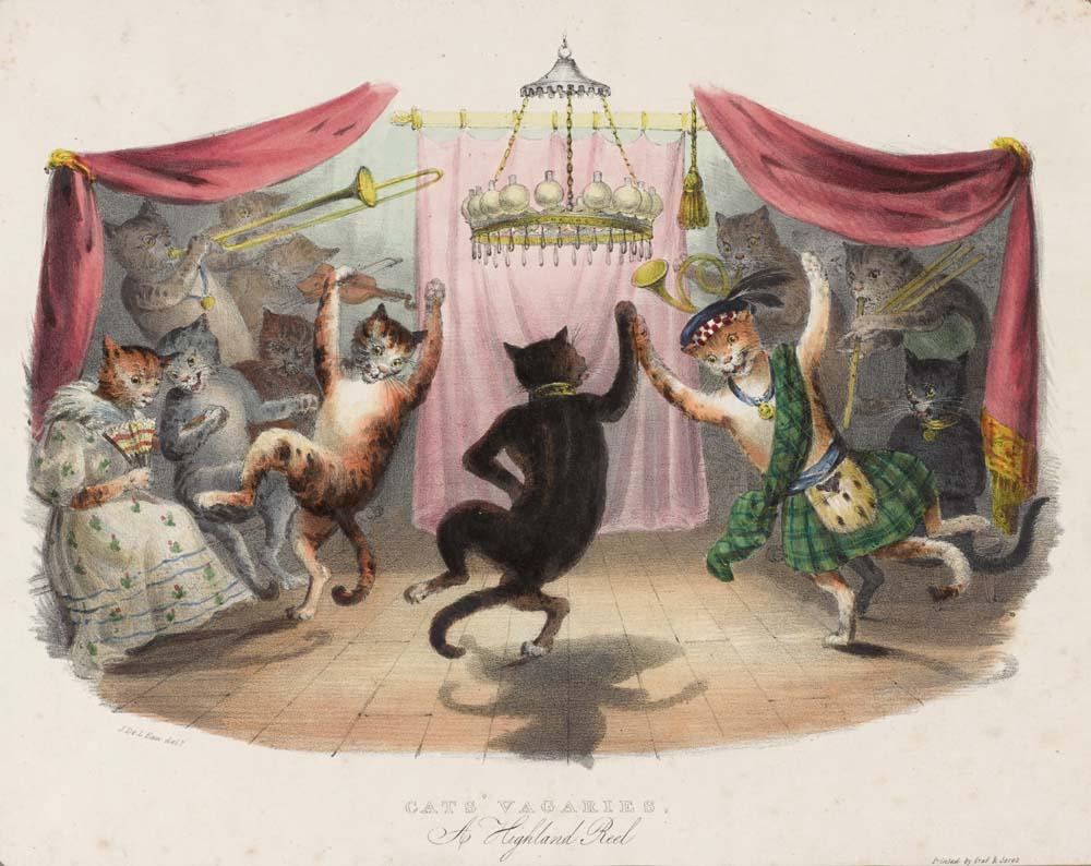 作者不明《猫のバカ騒ぎーハイランドリール》<br /> 1833年 個人蔵