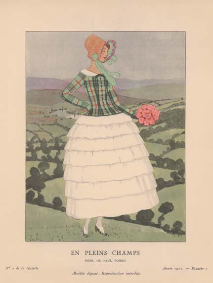 アンドレ・エドゥアール・マルティ<br /> 《『ガゼット・デュ・ボン・トン』より 田園にてーポール・ポワレのドレス》1923年<br /> 神戸ファッション美術館蔵