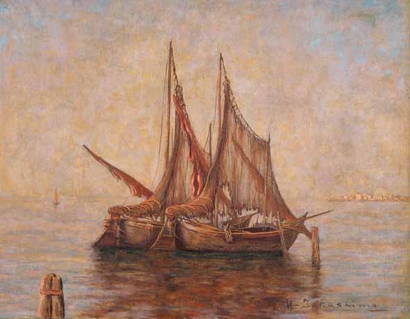 《イタリヤの海 キオッジア漁村》1930-33年<br /> 個人蔵