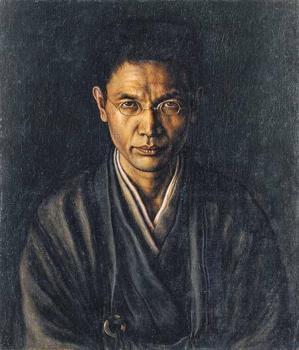 《絡子をかけたる自画像》1920年<br /> 福岡県立美術館
