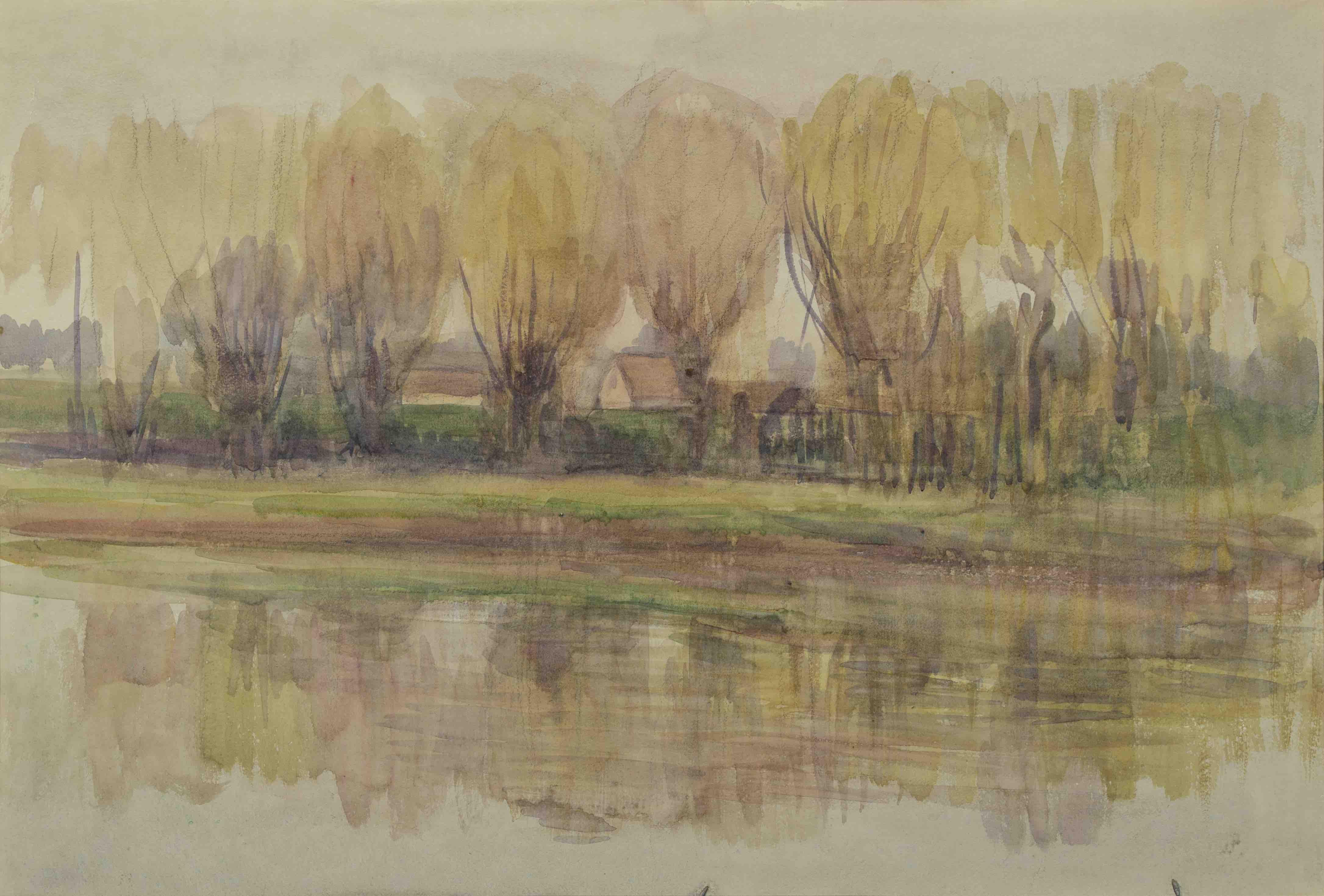 《河と並木》郡山市立美術館蔵(前期展示)
