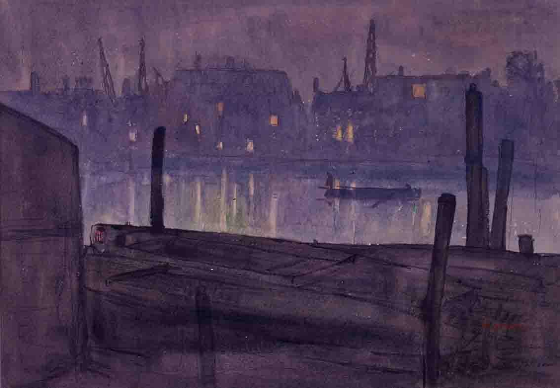 《テームズ夜景》1909年頃 広島県立美術館蔵(後期展示)