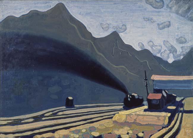 牛島憲之《山の駅》1935年 熊本県立美術館<br />